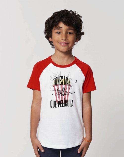 camisetas sostenibles tienes más rollo que película niños